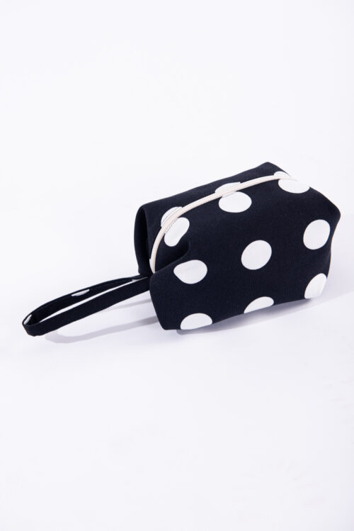 Beauty case origami nero a pois