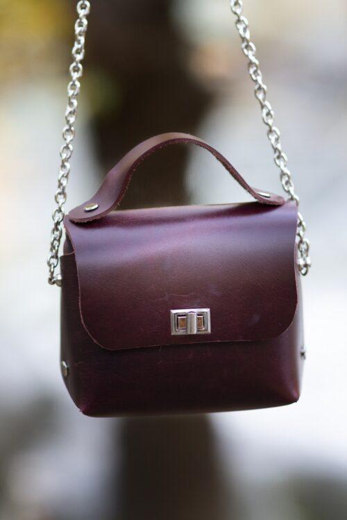 Mini bag da polso cuoio